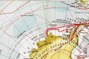 Československý školský atlas z roku 1952 s Doughertyho ostrovom.