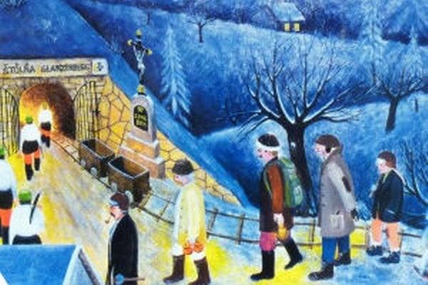 Detail z pozvánky na výstavu diel Jozefa Lackoviča.
