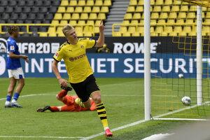 Erling Haaland sa raduje z gólu.