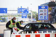 Kontrola na schengenskej hranici medzi Nemeckom a Švajčiarskom.