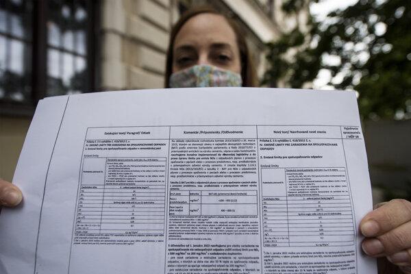 Predsedníčka Ekoteam o.z. Mária Matiko Štarková odovzdala na Ministerstve životného prostredia SR návrh štyroch občianskych združení (Ochranný spolok Sološnica o.z., Zelený živel o.z. a Za zdravé Horné Srnie o.z) na zníženie limitu emisií pre cementárne 25.mája 2020 v Bratislave.