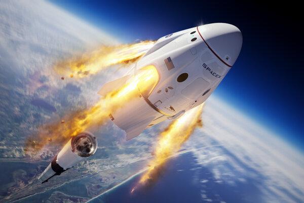 Vizualizácia odpojenia kapsule Crew Dragon od rakety Falcon 9.