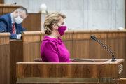 Prezidentka čaputová počas prejavu.