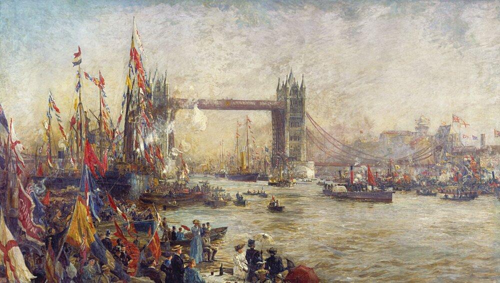 Maliar William Lionel Wyllie takto zachytil otvorenie mostu Tower Bridge