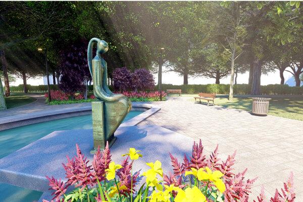 Račkova socha dievčiny zakomponovaná do vizualizácie.