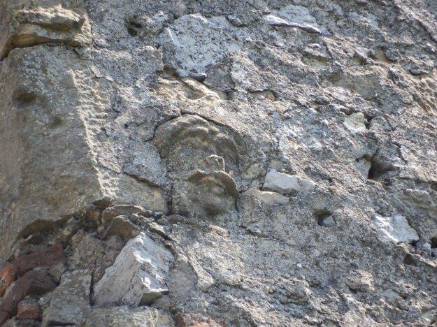 Maskarón v múre západného paláca hradu Čičva.