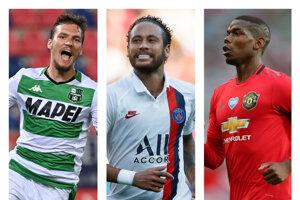 Zľava Lukáš Haraslín (Sassuolo Calcio), Neymar (PSG) a Paul Pogba (Manchester United).
