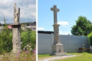 Obec Čimhová dala zreštaurovať kamenné kríže, stav pred a po.