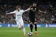 Momentka zo zápasu Manchester City - Real Madrid (Liga majstrov osemfinále).