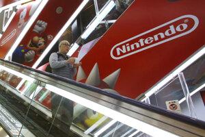 Logo spoločnosti Nintendo v Tokiu.