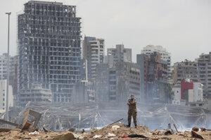 Miesto výbuchu v Bejrúte.