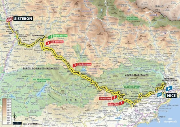 3. etapa na Tour de France 2020 - mapa.