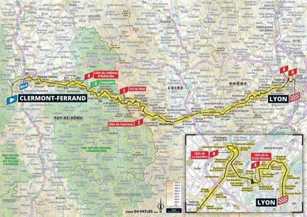 14. etapa na Tour de France 2020 - mapa.