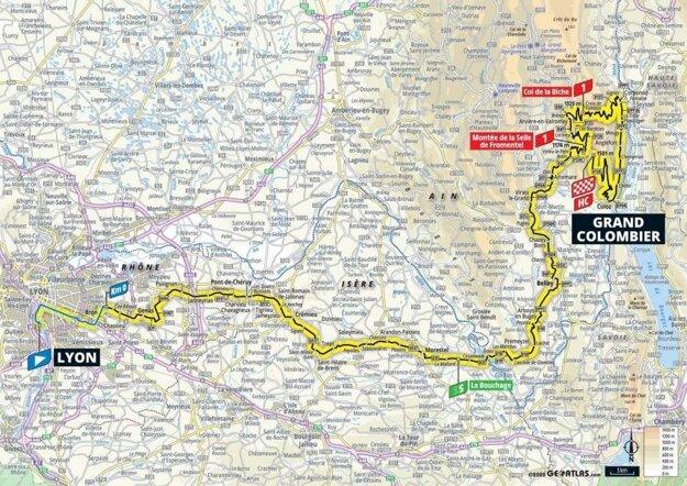 15. etapa na Tour de France 2020 - mapa.