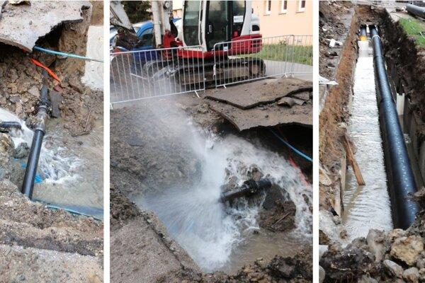 Prasknuté potrubie na sídlisku Sekčov.