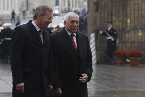 Václav Klaus a Christian Wulff počas návštevy nemeckého prezidenta v Prahe.