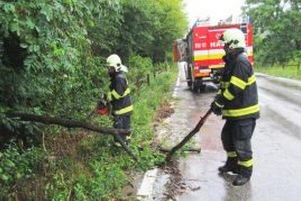 Zlatomoravskí hasiči pri odstraňovaní spadnutých konárov.