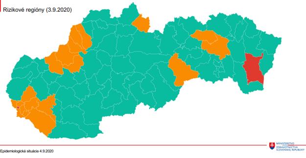 Rizikové regióny Slovenska 3.9. 2020.