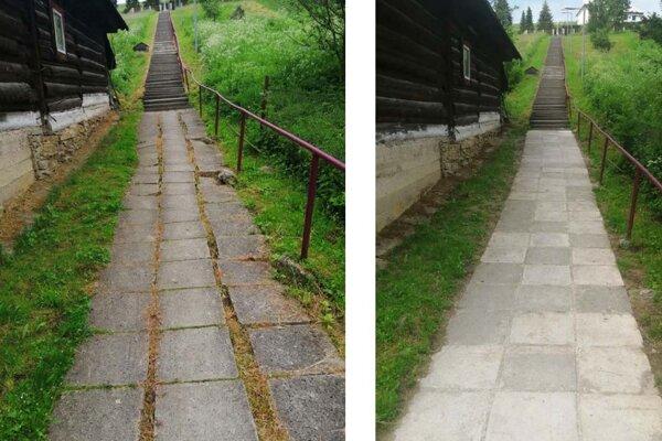 Starý a nový chodník, rozdiel je veľký.