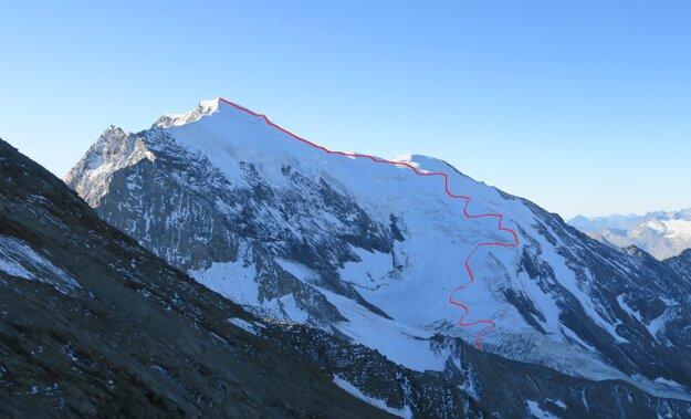 Približna trasa cesty na Weissmies (4017 m).