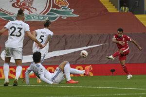 Mohamed Salah v zápase Liverpool FC - Leeds United.