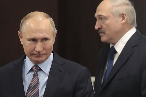 Ruský prezident Vladimir Putin a Alexander Lukašenko.