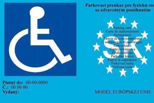 Vzor platného parkovacieho preuazu.