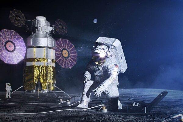 Vizualizácia práce astronautov na Mesiaci. NASA a telekomunikačný výrobca Nokia sa spojili, aby na našej družici poskytli prvú bezdrôtovú sieť 4G.