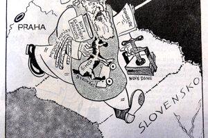 Karikatúra - Pražský Mikuláš dobrým slovenským dietkam z Kocúra v roku 1931.