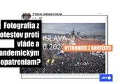 Viac ako 1000 používateľov Facebooku zdieľalo fotografiu, ktorá vyvolávala dojem, že na proteste proti pandemickým opatreniam vlády, ktorý sa konal 17. októbra 2020, sa zúčastnili desaťtisíce ľudí a zaplnili Námestie SNP v Bratislave. Nie je to však pravda.