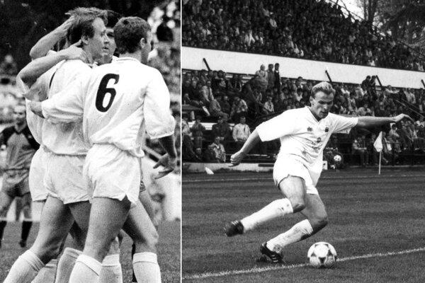 Na ľavej snímke je celkom vľavo Miloš Belák, na snímke vpravo je Milan Lednický.
