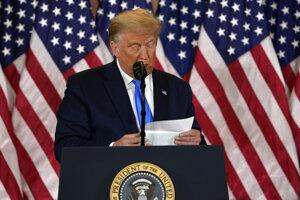 Donald Trump počas prejavu v Bielom dome vo Washingtone.