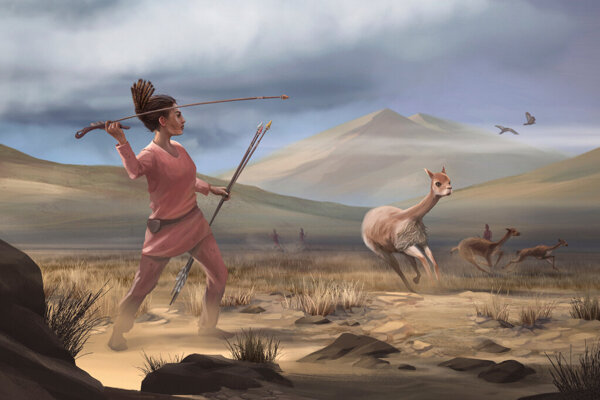 Ilustrácia lovkyne, ktorá pred deväťtisíc rokmi lovila v Andách veľké zvieratá.