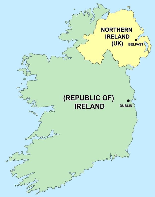 Rozdelený írsky ostrov.
