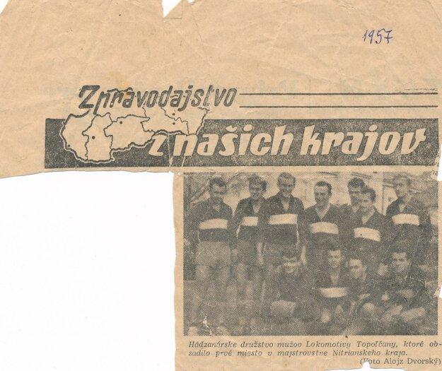 Lokomotíva Topoľčany, víťaz Krajskej súťaže vroku 1957.