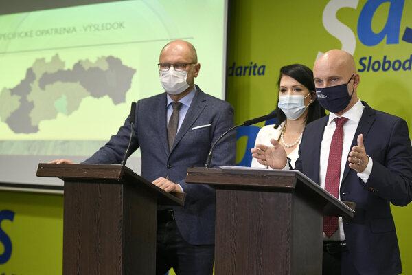 Predseda SaS a minister hospodárstva Richard Sulík, predsedníčka Výboru NR SR pre zdravotníctvo Jana Bittó Cigániková a podpredseda SaS a minister školstva Branislav Gröhling.
