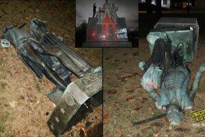 Zničené sochy.