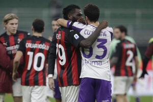Zápas AC Miláno - Fiorentina.