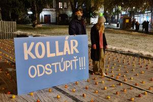 Demonštrácia KDH za odvolanie Borisa Kollára z funkcie.