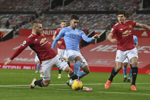 Momentka zo zápasu Premier League Manchester United - Manchester City.