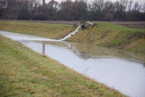 Vodný tok Trnávka. Stav z 5. januára 2021.