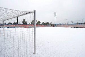 Zasnežený štadión Atlética Madrid.