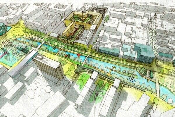 Plán novej švrte a novího námestia počíta v dlhodobom horizonte so zmenami dopravnej kostry v centre mesta a návratom vody do pôvodného koryta Mlynského náhonu.
