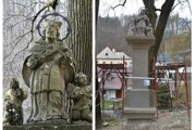 Reštaurovanie sochy Jána Nepomuckého na pilieri pod Oravským hradom.