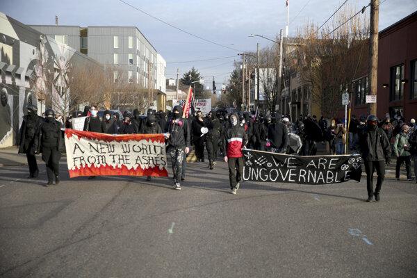 Pochod demonštrantov v Portlande.