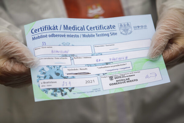Certifikát z celoplošného skríningového testovania na ochorenie COVID-19 prebiehajúceho od 18. - 26. januára 2021.