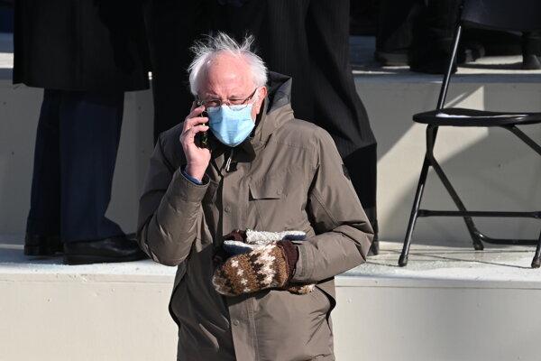 Bernie Sanders na inaugurácii Joea Bidena.