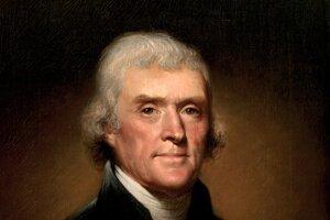 Portrét tretieho amerického prezidenta Thomasa Jeffersona od amerického umelca Rembrandta Pealeho.