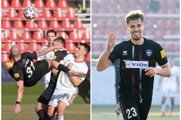 Jozef Menich (vľavo) prekrásne trafil svoj prvý zlatomoravský gól, Martin Kovaľ (vpravo) za dvoma skolil Ružomberok.