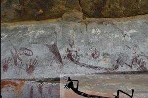 Vzácna maľba ľudskej postavy v dávnom štýle maľby z oblasti Kimberley v Austrálii.